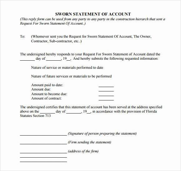 Statement Of Account Template Fresh Free 11 Sample Sworn Statements In Google Docs