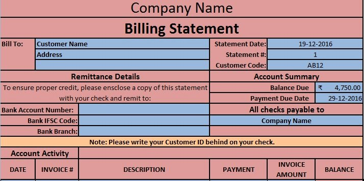 Statement Of Account Template Luxury Download Billing Statement Excel Template Exceldatapro