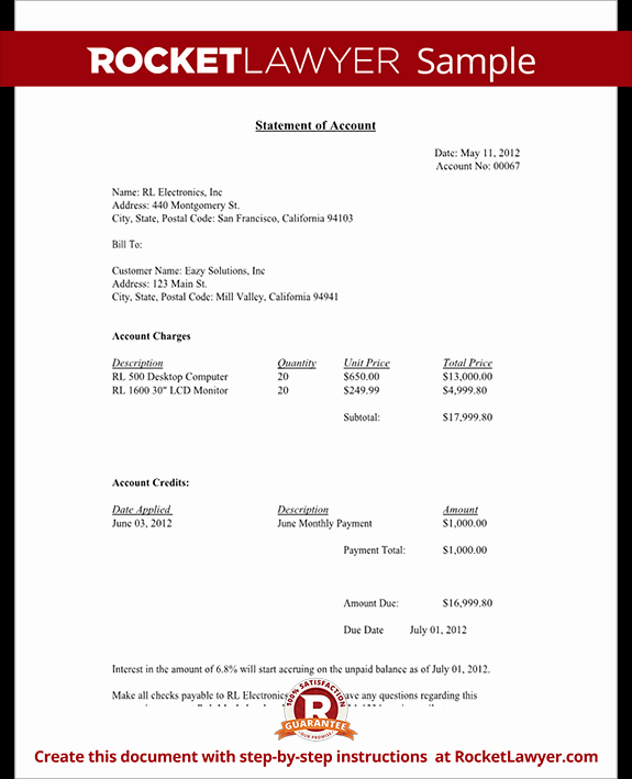Statement Of Account Template New Statement Of Account Free Statement Of Account Letter