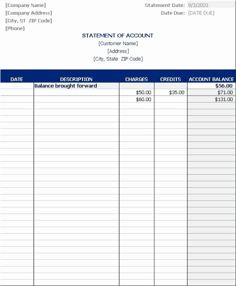 Statement Of Account Template New Statement Of Account Templates