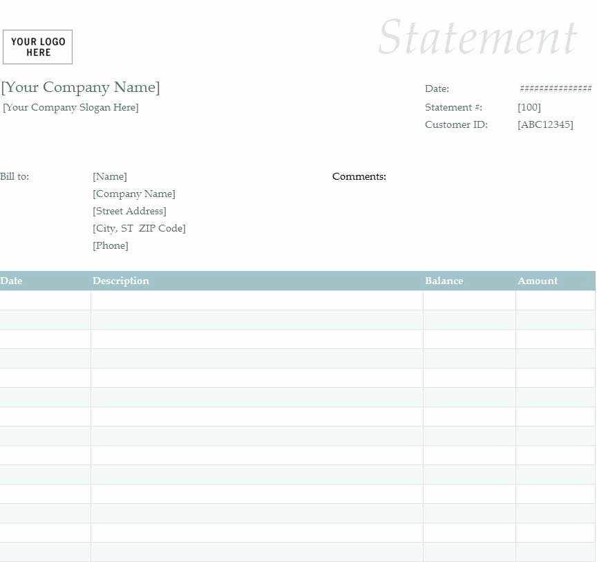 Statement Of Account Template Unique Billing Statement Template
