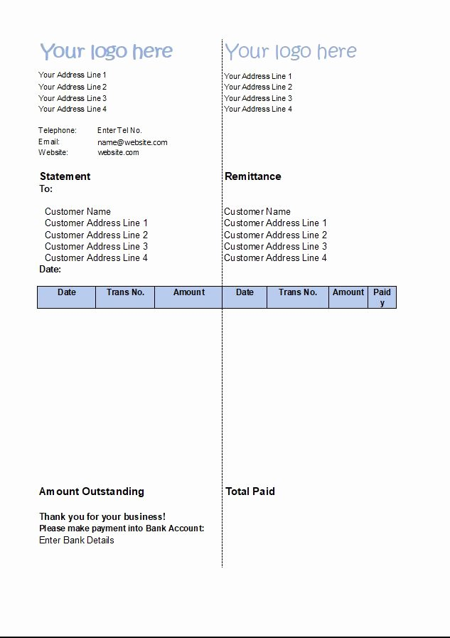 Statement Of Account Template Unique Statement Of Account Template Customer Statement Excel