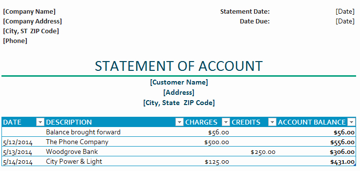Statement Of Account Template Unique Statement Of Account Template
