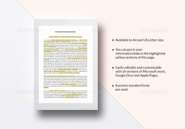 Statement Of Purpose Template Awesome 11 Statement Of Purpose Samples Pdf Word