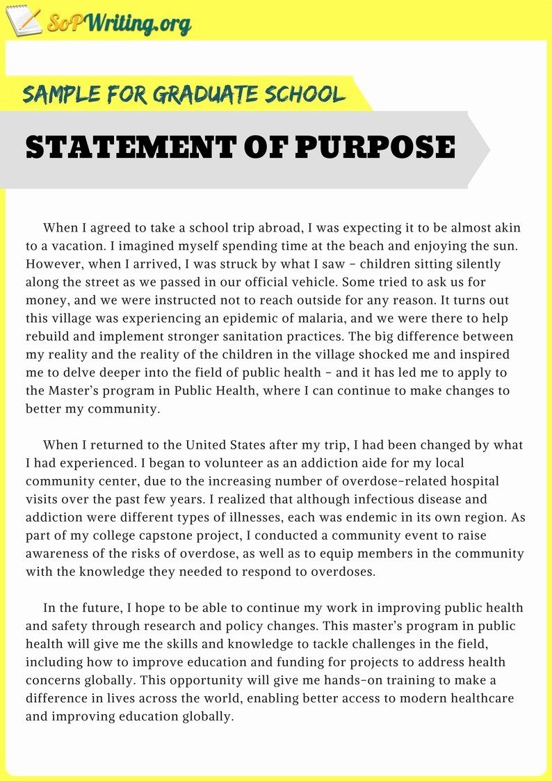 Statement Of Purpose Template Awesome Sample Statement Of Purpose for Graduate School