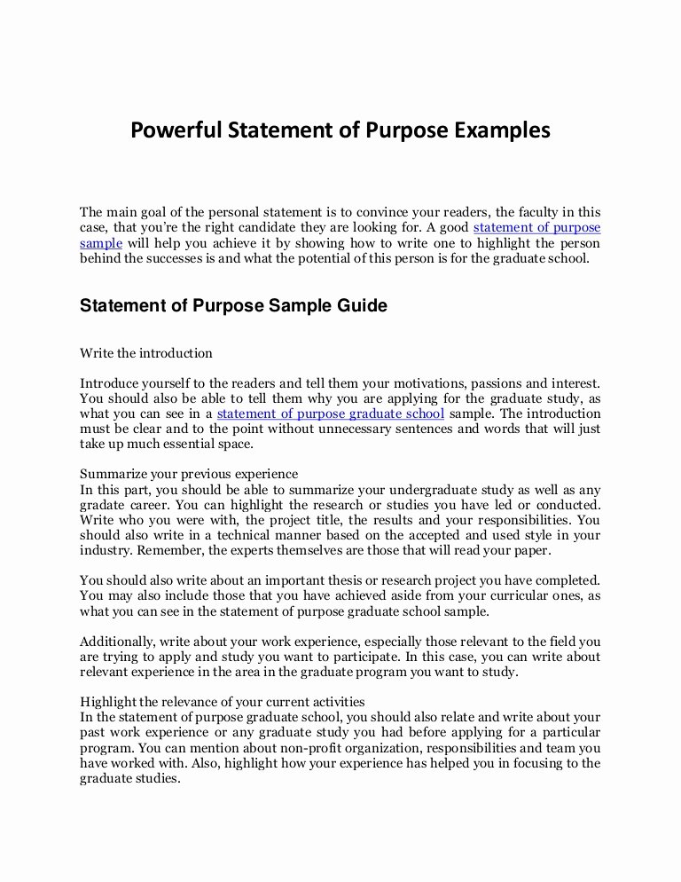 Statement Of Purpose Template Fresh Statement Of Purpose Sample Your Plete Guide to An