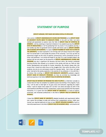 Statement Of Purpose Template Luxury Free 11 Statement Of Purpose Examples & Samples In Pdf