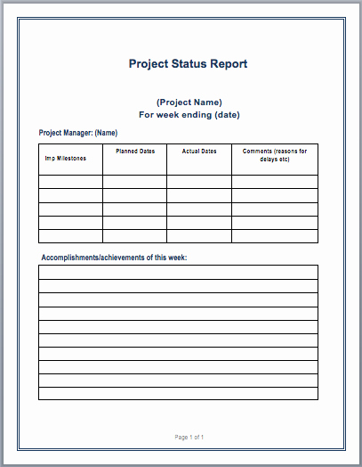 Status Report Template Word Awesome Project Status Report Template – Word Templates for Free