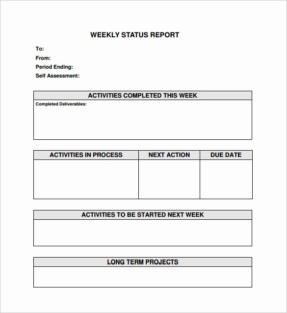 Status Report Template Word Best Of Free 16 Sample Weekly Status Report Templates In Pdf