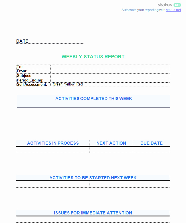 Status Report Template Word Elegant 6 Awesome Weekly Status Report Templates