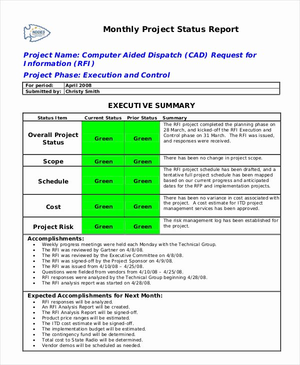 Status Report Template Word Fresh Status Report Template 19 Free Word Pdf Documents