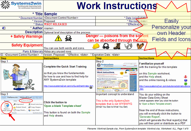 Step by Step Instruction Template New Work Instruction Template