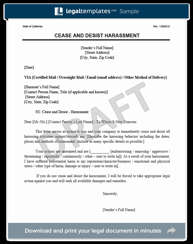 Stop Work order Template Fresh Cease and Desist Letter C&d
