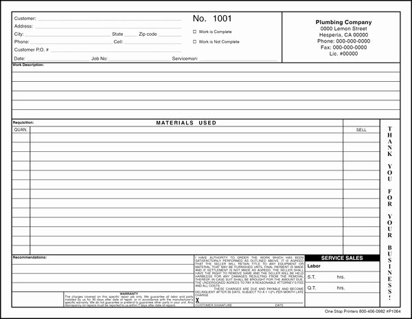 Stop Work order Template Inspirational Plumbing Invoice