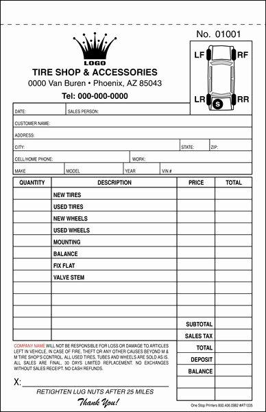 Stop Work order Template Unique Automotive Tire Repair order Invoice