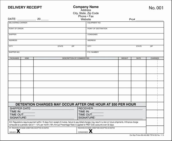 Stop Work order Template Unique Truck Drivers Delivery Receipt with Detention Charge
