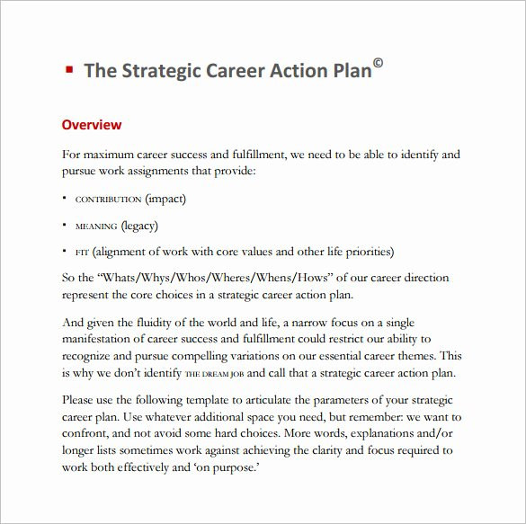 Strategic Action Plan Template Lovely 13 Career Action Plan Templates Doc Pdf Excel