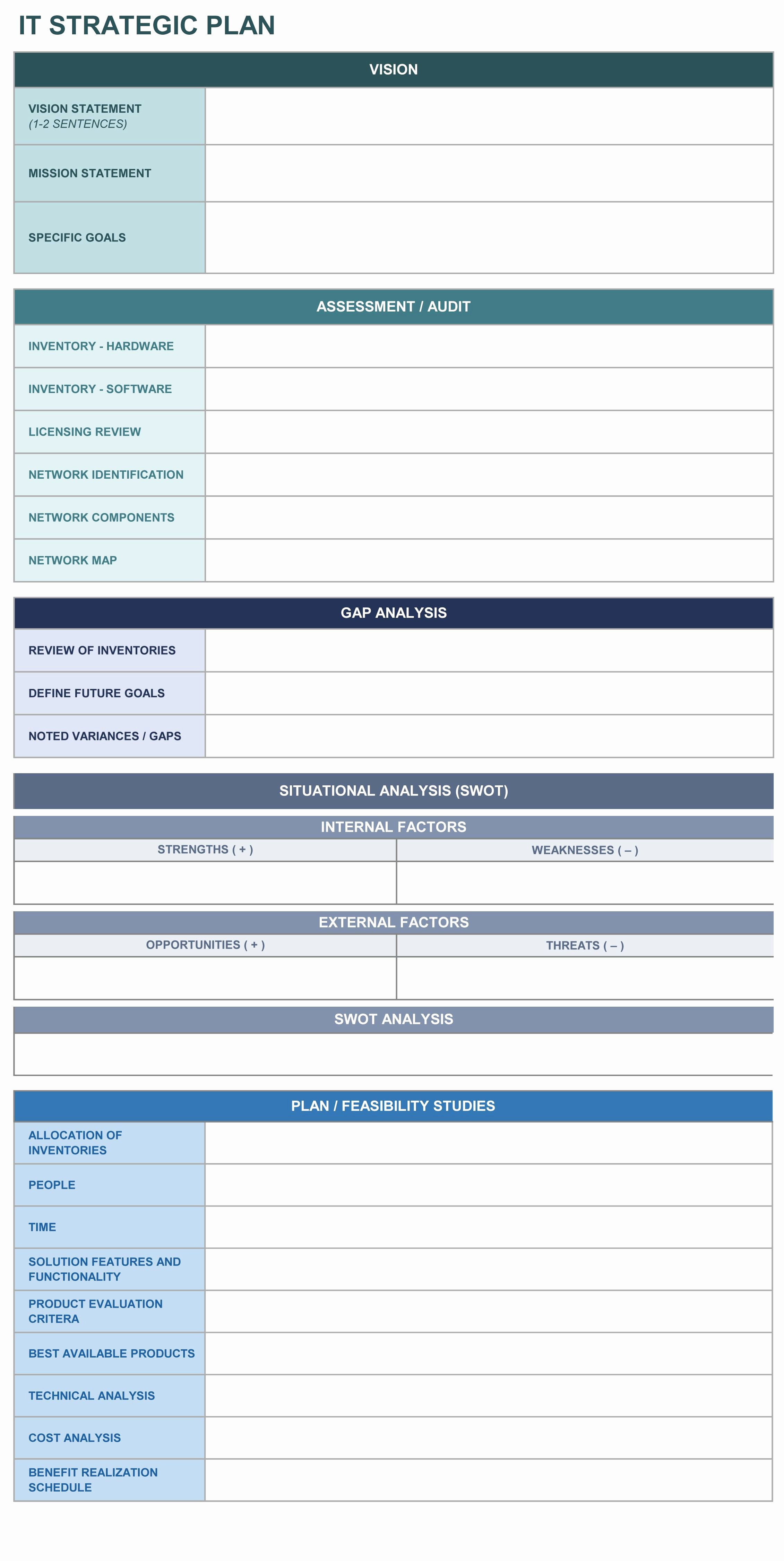 Strategic Action Plan Template New It Strategic Plan Excel Template