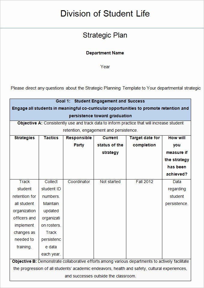 Strategic Plan Template Word Awesome Strategic Life Plan Template 6 Free Word Pdf Documents