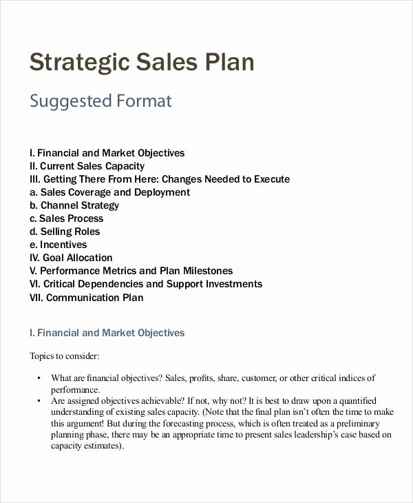 Strategic Sales Plan Template Inspirational Personal Sales Plan Template 6 Free Pdf format Download