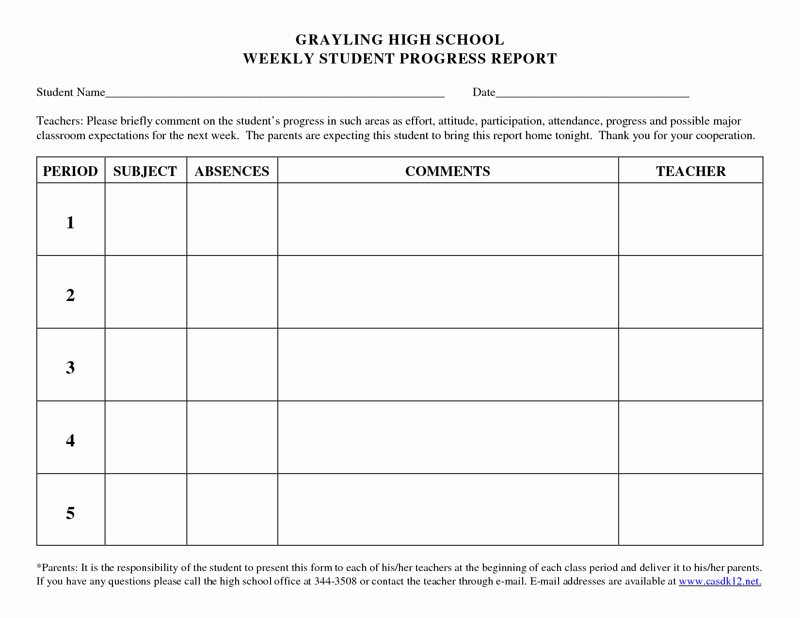 Student Progress Report Template Awesome Progress Report Template for High School Students Google