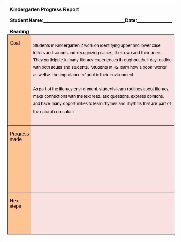 Student Progress Report Template Beautiful Free 15 Sample Progress Report Templates In Pdf