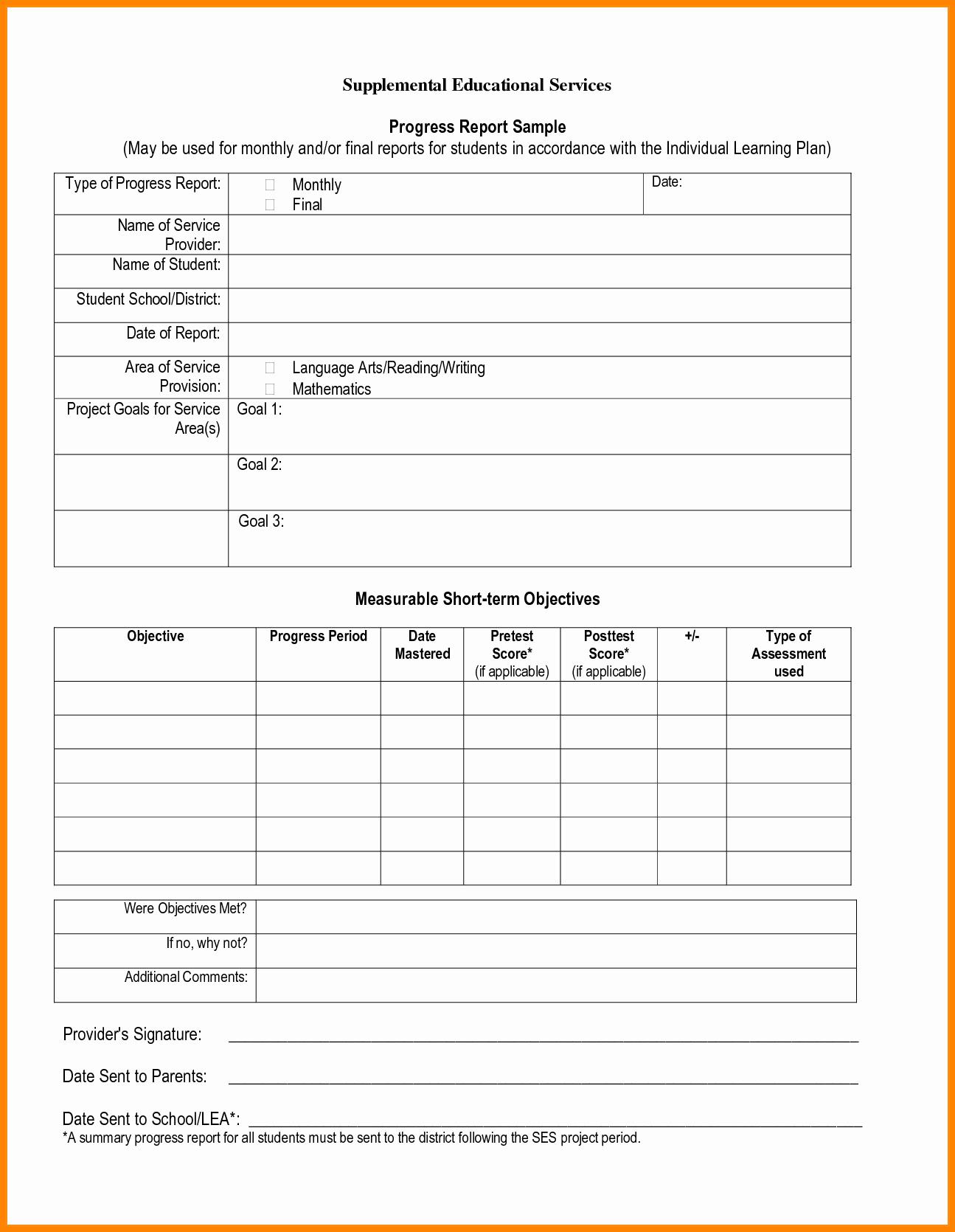 Student Progress Report Template Best Of Student Progress Report Template