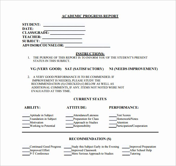 Student Progress Report Template Fresh Sample Student Progress Report 17 Documents In Pdf