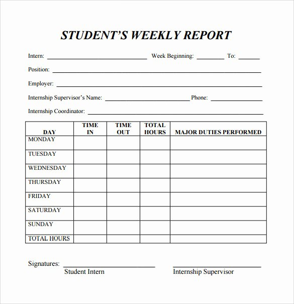 Student Progress Report Template Lovely Free 25 Sample Weekly Report Templates In Docs