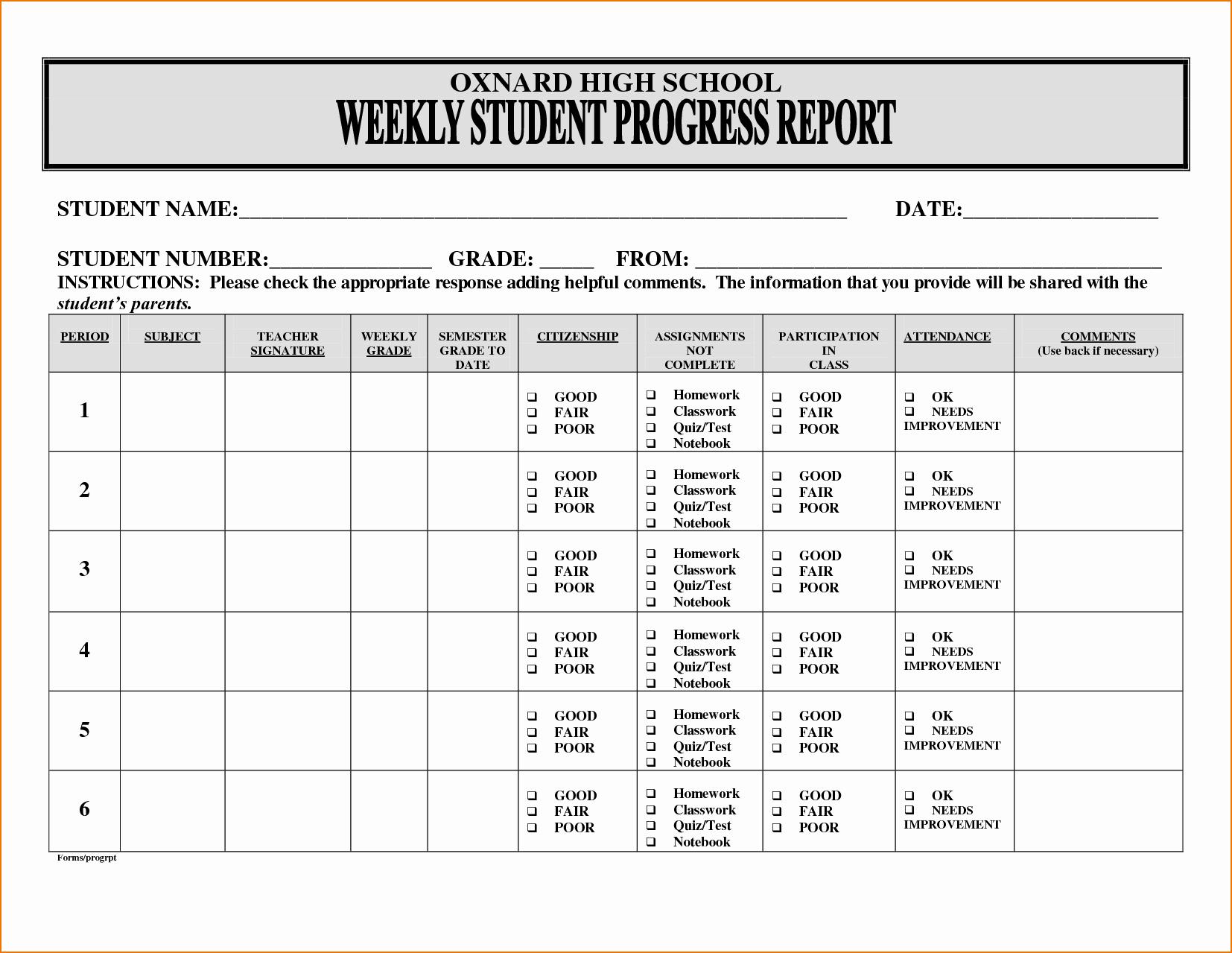 Student Progress Report Template Luxury Student Progress Report Template