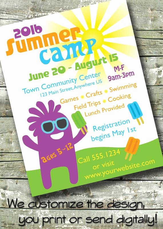 Summer Camp Flyer Template Best Of Summer Camp Kids Day Camp 5x7 Invite 8 5x11 Flyer