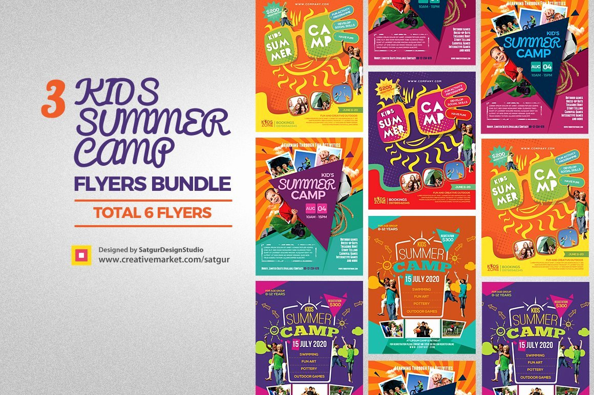 Summer Camp Flyer Template Fresh Kids Summer Camp Flyers Bundle Flyer Templates