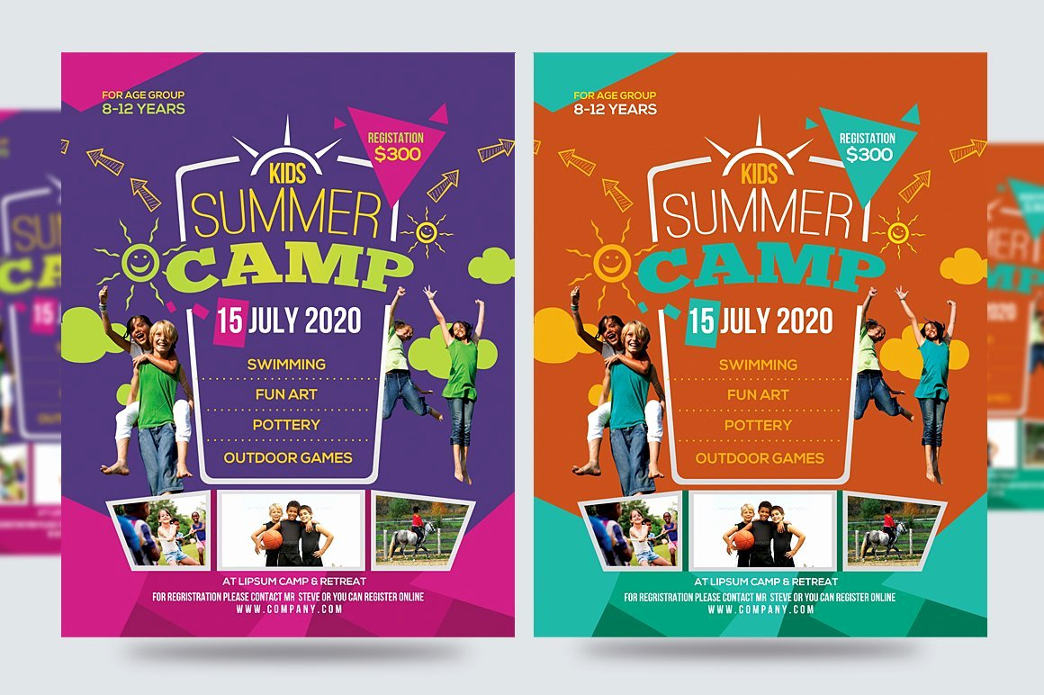 Summer Camp Flyer Template Inspirational Kids Summer Camp Flyer V1 Flyer Templates Creative Market