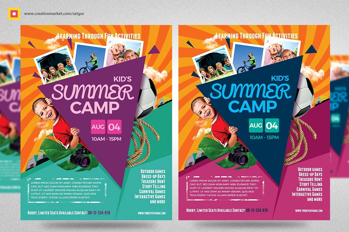 Summer Camp Flyer Template Unique Kids Summer Camp Flyer V3 Flyer Templates Creative Market
