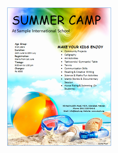 Summer Camp Flyer Template Unique Summer Camp Flyer
