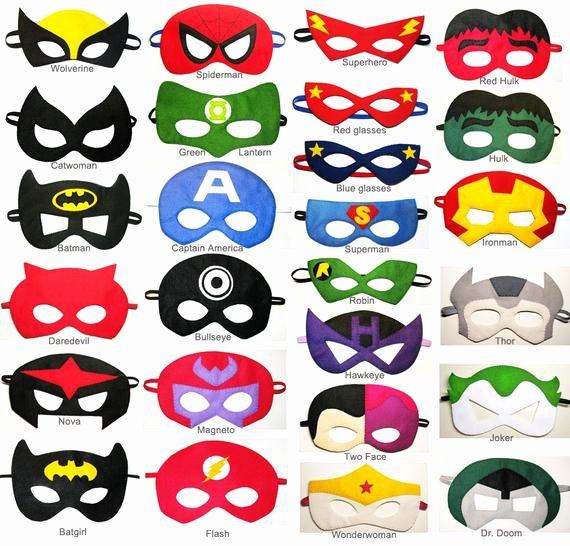 Superhero Mask Template Pdf Lovely 20 Felt Superhero Masks Party Pack for Kids You Choose