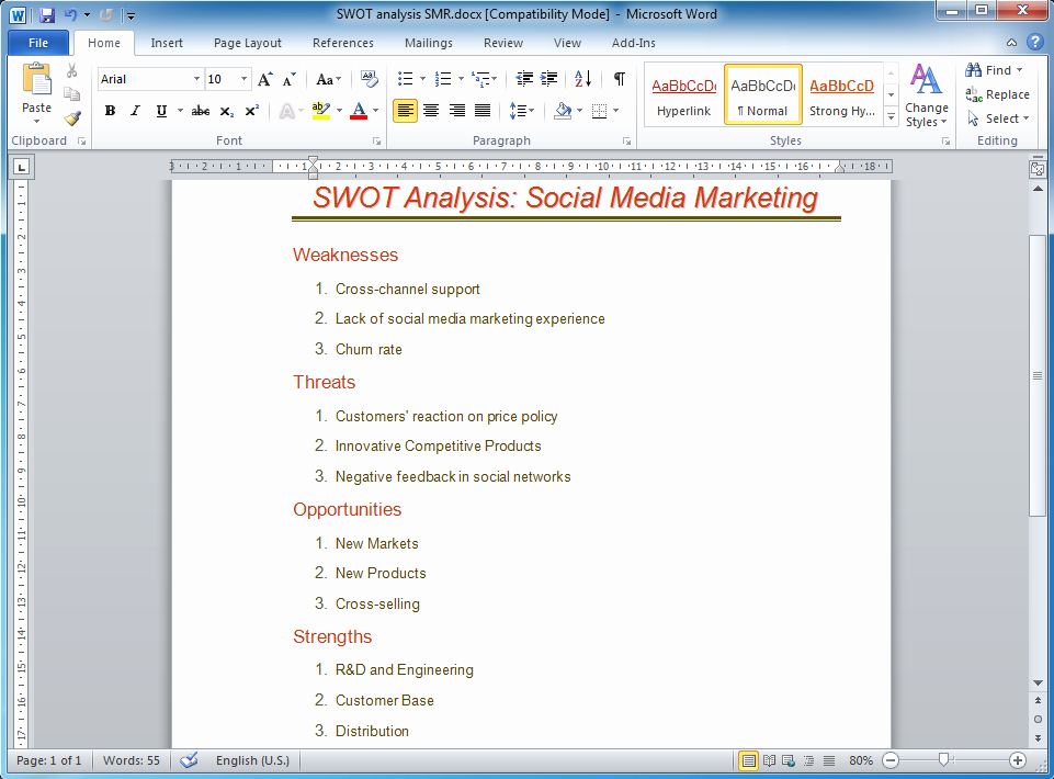 Swot Analysis Template Word Awesome How to Make Swot Analysis In A Word Document