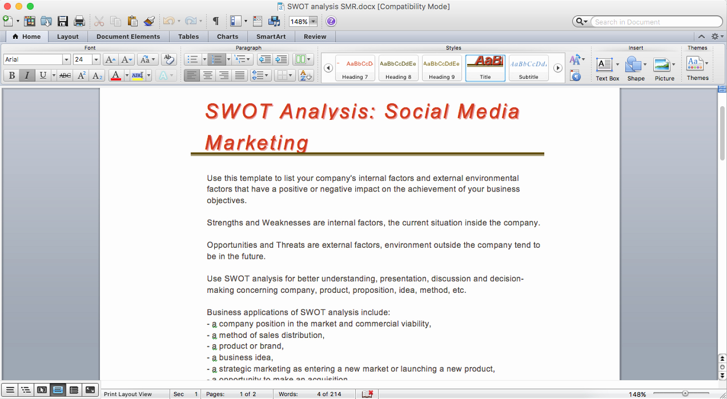 Swot Analysis Template Word Fresh How to Make Swot Analysis In A Word Document