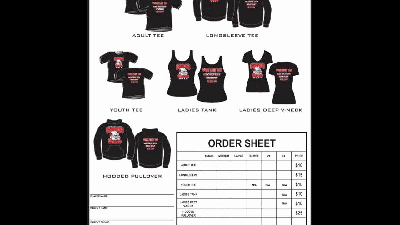 T Shirt order form Template Beautiful T Shirt order form Template Excel
