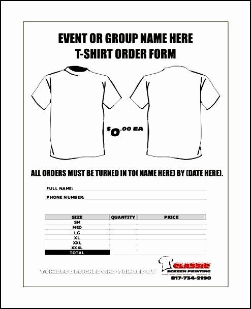 T Shirt order form Template Elegant Free order form Template Word
