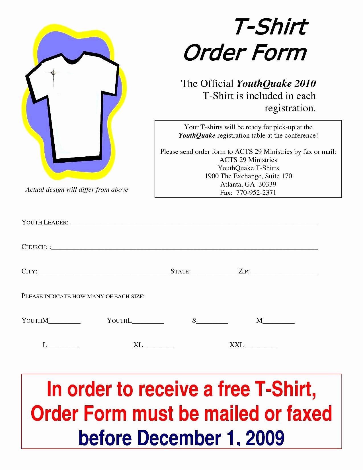 T Shirt order form Template Fresh T Shirt order form Template