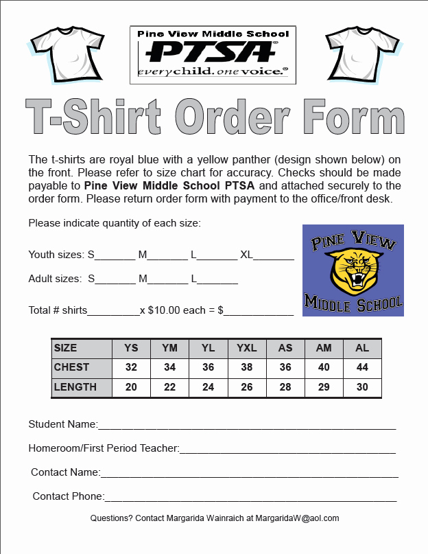 T Shirt order form Template Lovely T Shirt order form Template