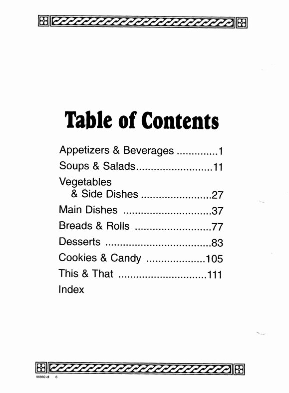 Table Of Contents Template Awesome Cookbook Sections