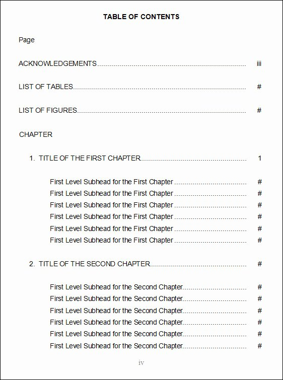 Table Of Contents Template Awesome Free 8 Free Table Of Content Templates Doc