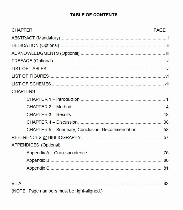 Table Of Contents Template Best Of 24 Table Of Contents Pdf Doc