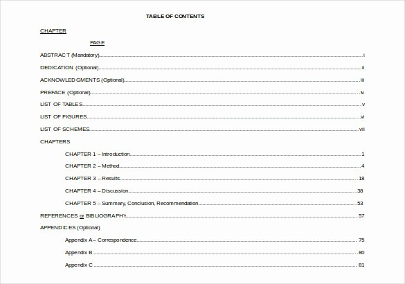 Table Of Contents Template Fresh 24 Table Of Contents Pdf Doc