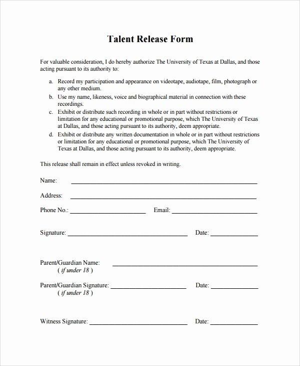 Talent Release form Template Elegant Sample Talent Release form Template 9 Free Documents