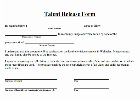 Talent Release form Template Elegant Talent Release form 8 Free Samples Examples & formats