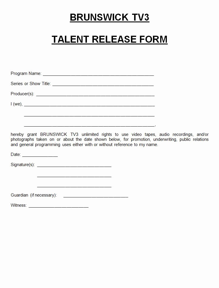 Talent Release form Template Elegant Tv3 Talent Release form town Brunswick Maine