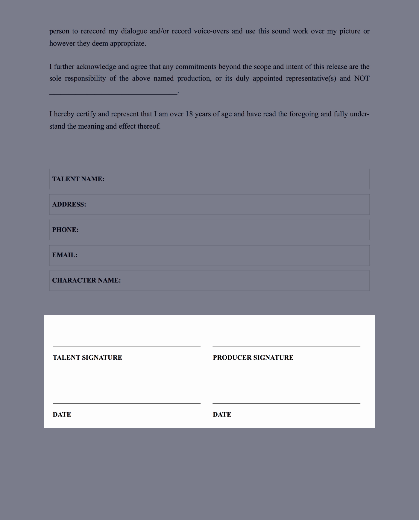 Talent Release form Template Inspirational the Plete Guide to Actor Release forms Free Template